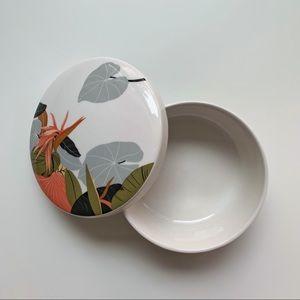 Palm Leaf Tropical Print Porcelain Jewelry Dish